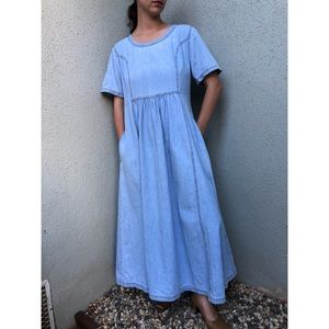 VINTAGE | Chambray dress with a-line midi skirt